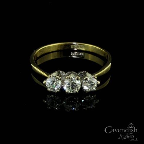 Beautiful Gold Diamond Trilogy Ring
