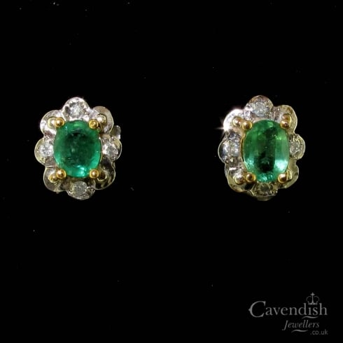 Beautiful Gold Emerald and Diamond Stud Earrings