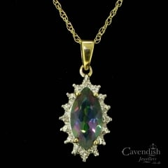 Beautiful Gold, Mystic Topaz and Diamond Pendant Necklace