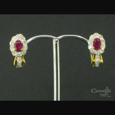 Beautiful Gold Ruby & Diamond Earrings
