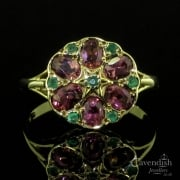 Beautiful Pink Tourmaline And Emerald Floral Cluster Ring