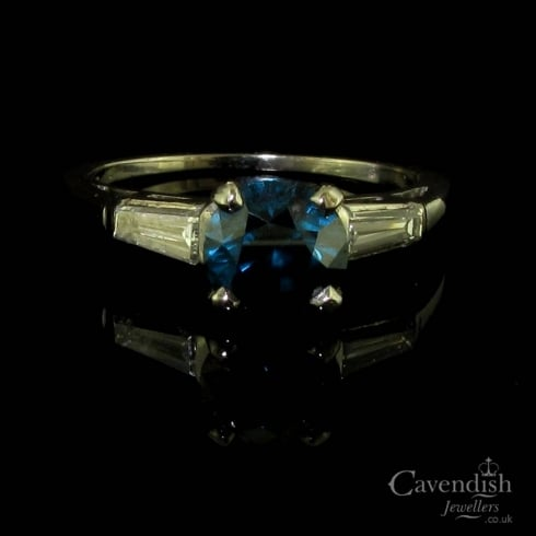 Beautiful Platinum Blue Diamond Solitaire Ring