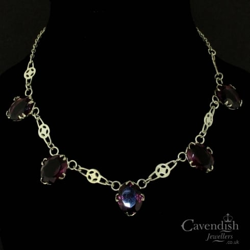 Beautiful Purple Five Stone Necklace