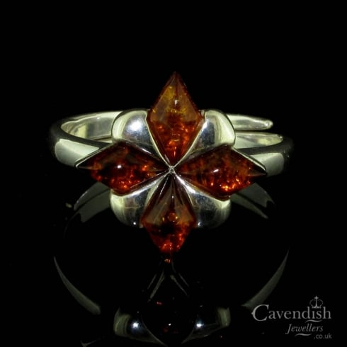 Beautiful Silver And Amber Flower Ring