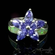Beautiful Silver CZ and Synthetic Opal Flower Cluster Ring