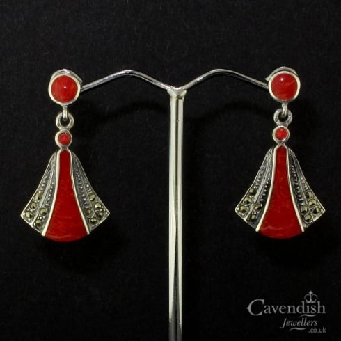 Beautiful Silver, Treated Coral And Marcasite Drop Earrings