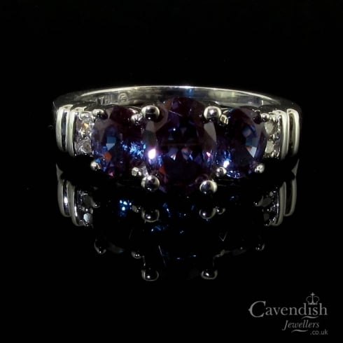 Beautiful Synthetic Alexandrite & Diamond Trilogy Ring