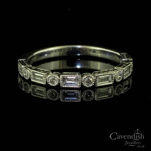 Beautiful White Gold And Diamond Half Eternity Ring