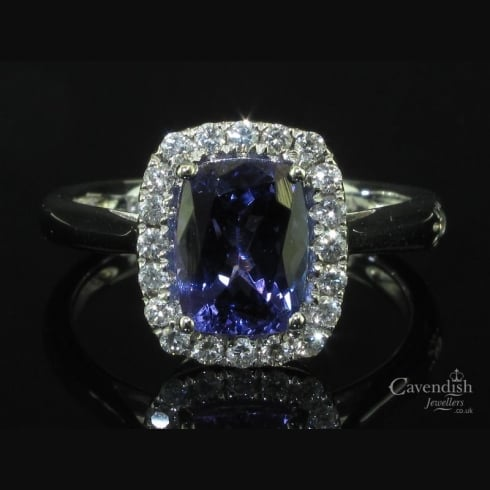 Beautiful White Gold Tanzanite and Diamond Cluster Ring