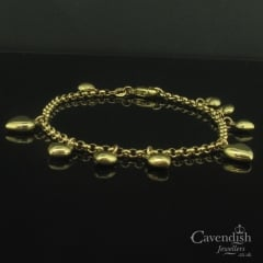 Beautiful Yellow Gold Heart Charm Bracelet