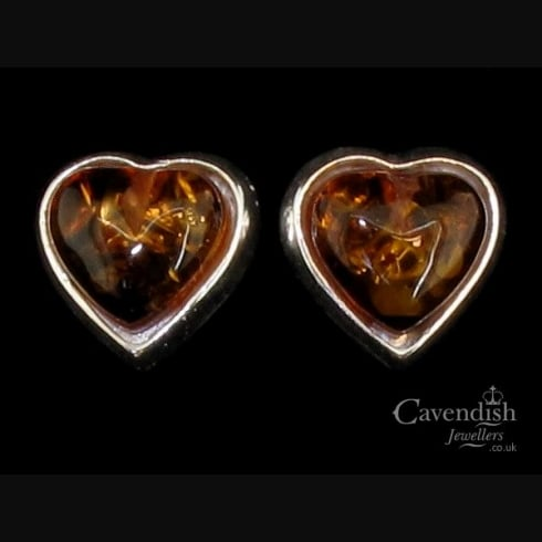 Becoming Silver & Honey Amber Heart Stud Earrings