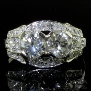 Breathtaking Art Deco Platinum Diamond Cluster Ring