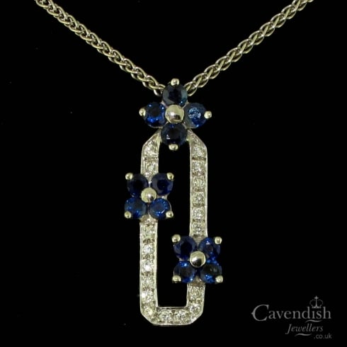 Captivating 18ct White Gold, Sapphire & Diamond Floral Pendant