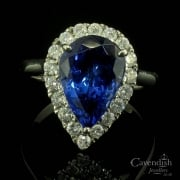 Captivating 18ct White Gold, Tanzanite & Diamond Cluster Ring