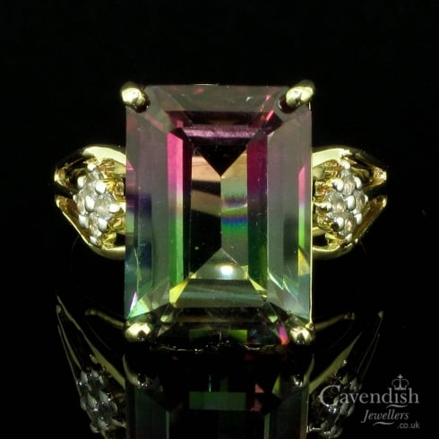 Captivating 9ct Gold, Watermelon Topaz And Cubic Zirconia Ring