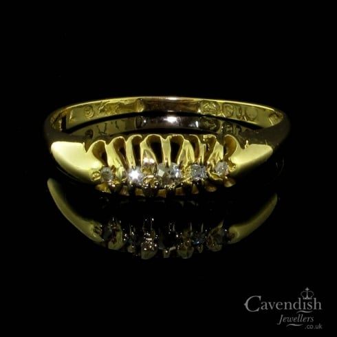 Captivating Edwardian 18ct Gold And Diamond 5 Stone Ring