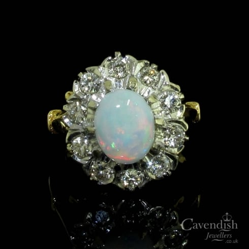 Captivating Opal And Diamond Cluster Ring