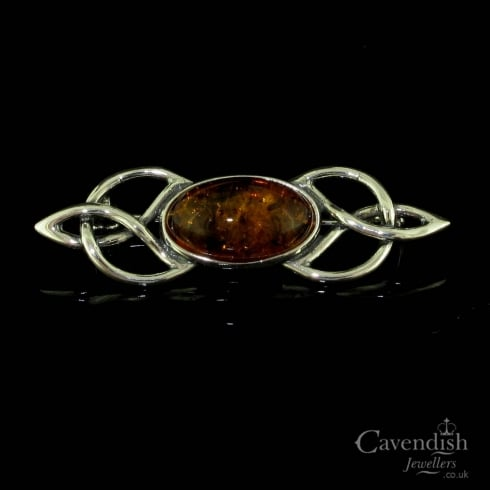 Captivating Silver And Amber Celtic Brooch