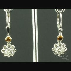 Captivating White Gold Cinnamon & White Diamond Drop Earrings