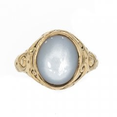 Chalcedony Set Signet Ring