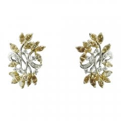 Champagne and White Diamond Floral Stud Earrings