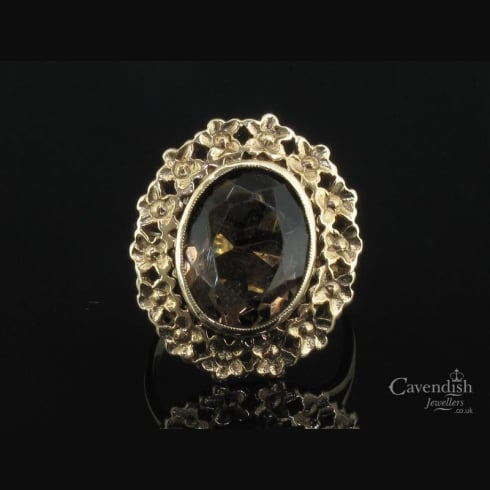 Characterful 9ct Gold & Smokey Quartz Floral Detailed Ring