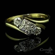 Charming 9ct Gold And Diamond Twist Ring Circa 1920
