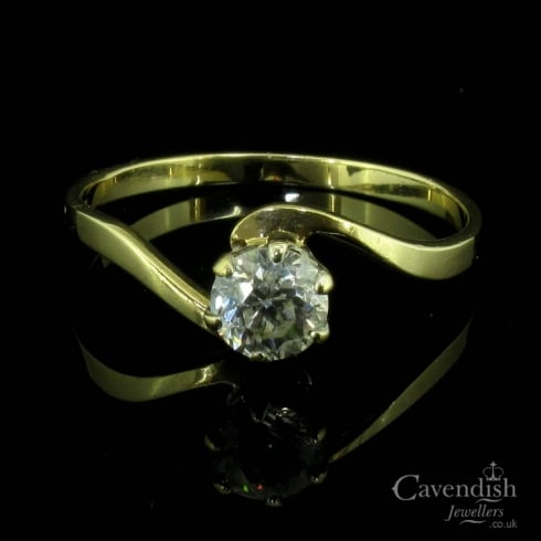 Charming 9ct Gold Cubic Zirconia Crossover Solitaire Ring