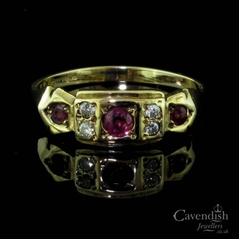Charming 9ct Gold, Ruby And Diamond Victorian Style Ring