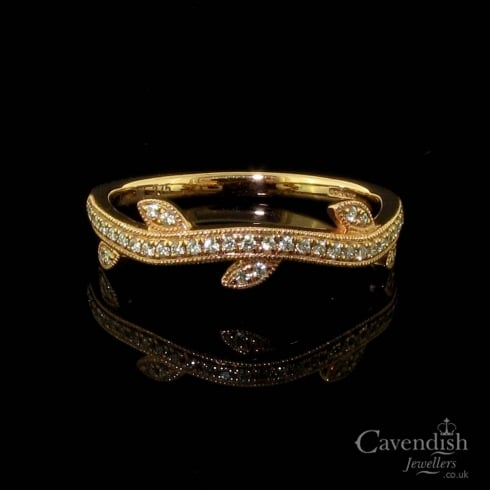 Charming 9ct Rose Gold Diamond Half Hoop Ring