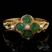 Charming 9ct Rose Gold Emerald and Seed Pearl Cluster Ring