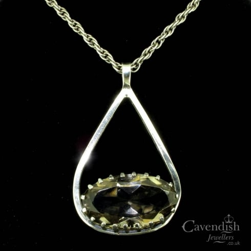 Charming Silver and Smokey Quartz Pendant Necklace