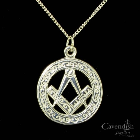 Charming Silver Masonic Pendant Necklace