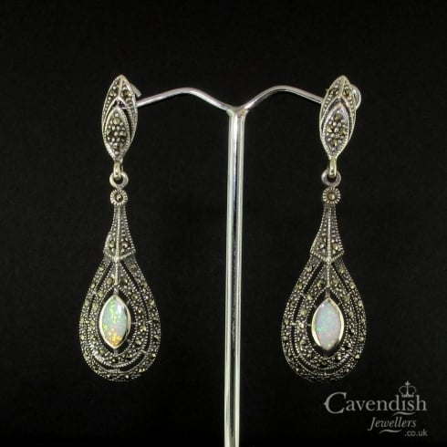 Charming Silver Opal & Marcasite Drop Earrings