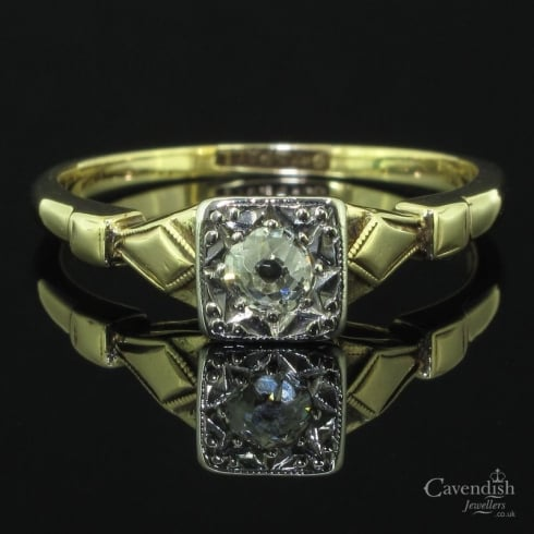 Charming Yellow Gold & Palladium Old Cut Diamond Solitaire Ring