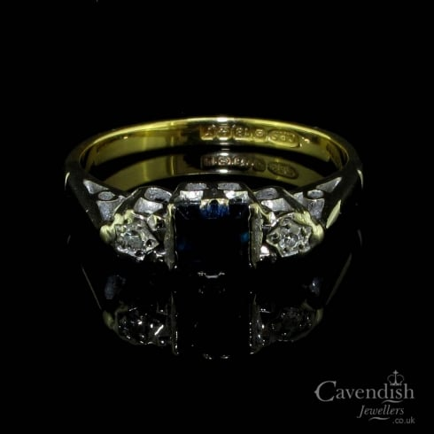 Circa 1960's 18ct Gold, Sapphire and Diamond Trilogy Ring