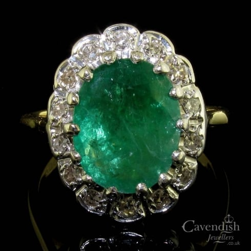 Classic 18ct Gold Emerald And Diamond Cluster Ring