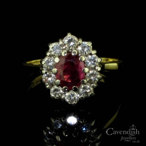 Classic 18ct Gold Ruby & Diamond Cluster Ring
