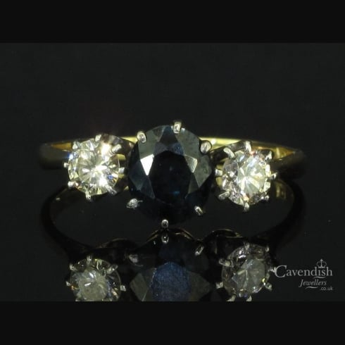 Classic 18ct Gold Sapphire and Diamond Three Stone Ring