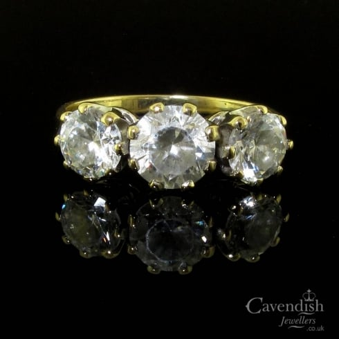 Classic 9ct Gold Cubic Zirconia Three Stone Ring