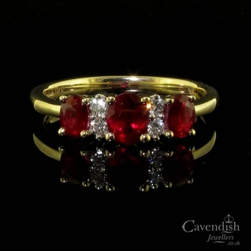 Classic 9ct Gold Ruby & Diamond Three Stone Ring