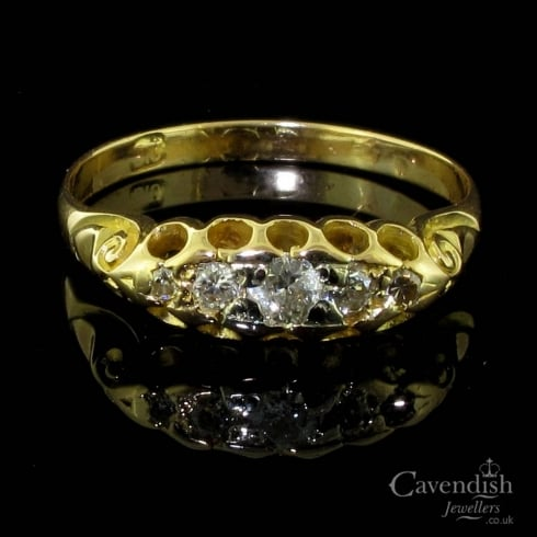 Classic Gold And Diamond 5 Stone Boat Shaped Victorian Ring
