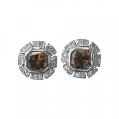 Cognac Diamond Cluster Stud Earrings