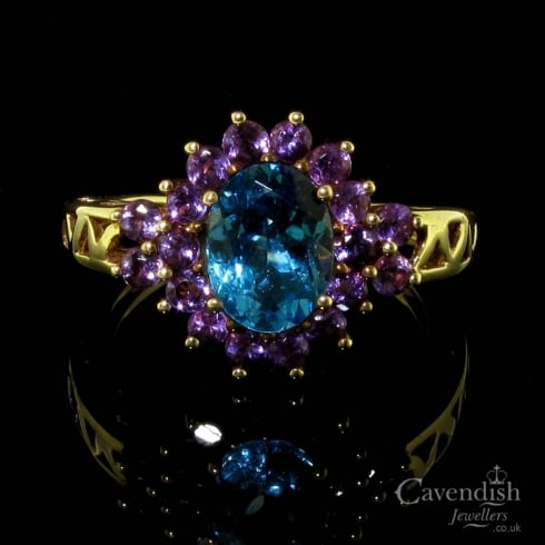 Colourful 9ct Gold Blue Topaz & Amethyst Cluster Ring