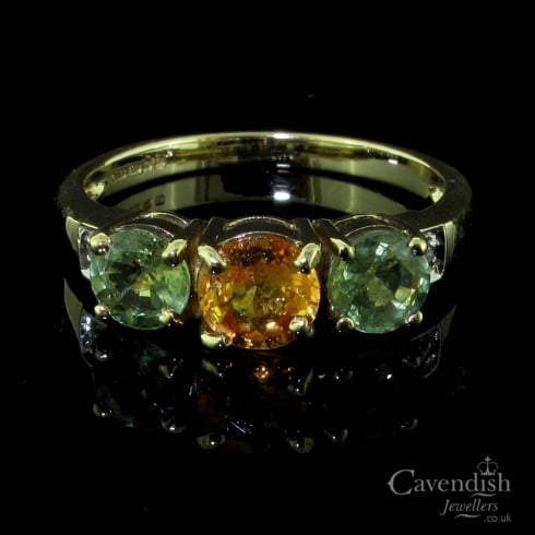 Colourful 9ct Gold, Peridot And Citrine Trilogy Ring