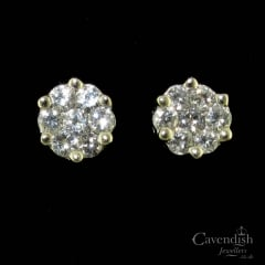 Contemporary 14ct White Gold And Diamond Cluster Earrings