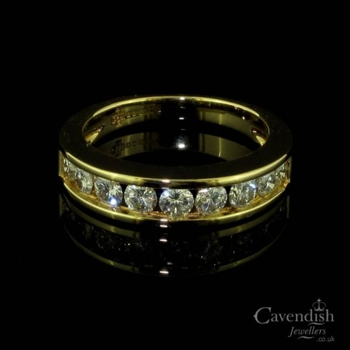 Contemporary 18ct Gold and Diamond Half Eternity Ring