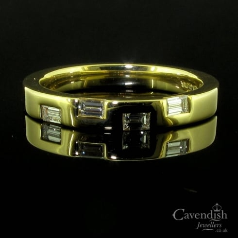 Contemporary 18ct Yellow Gold And Baguette Diamond Set Band