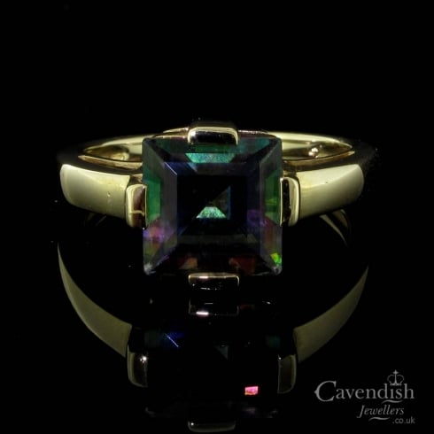 Contemporary 9ct Gold And Mystic Topaz Single Stone Ring