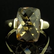Contemporary 9ct Gold And Smokey Quartz Dress Ring